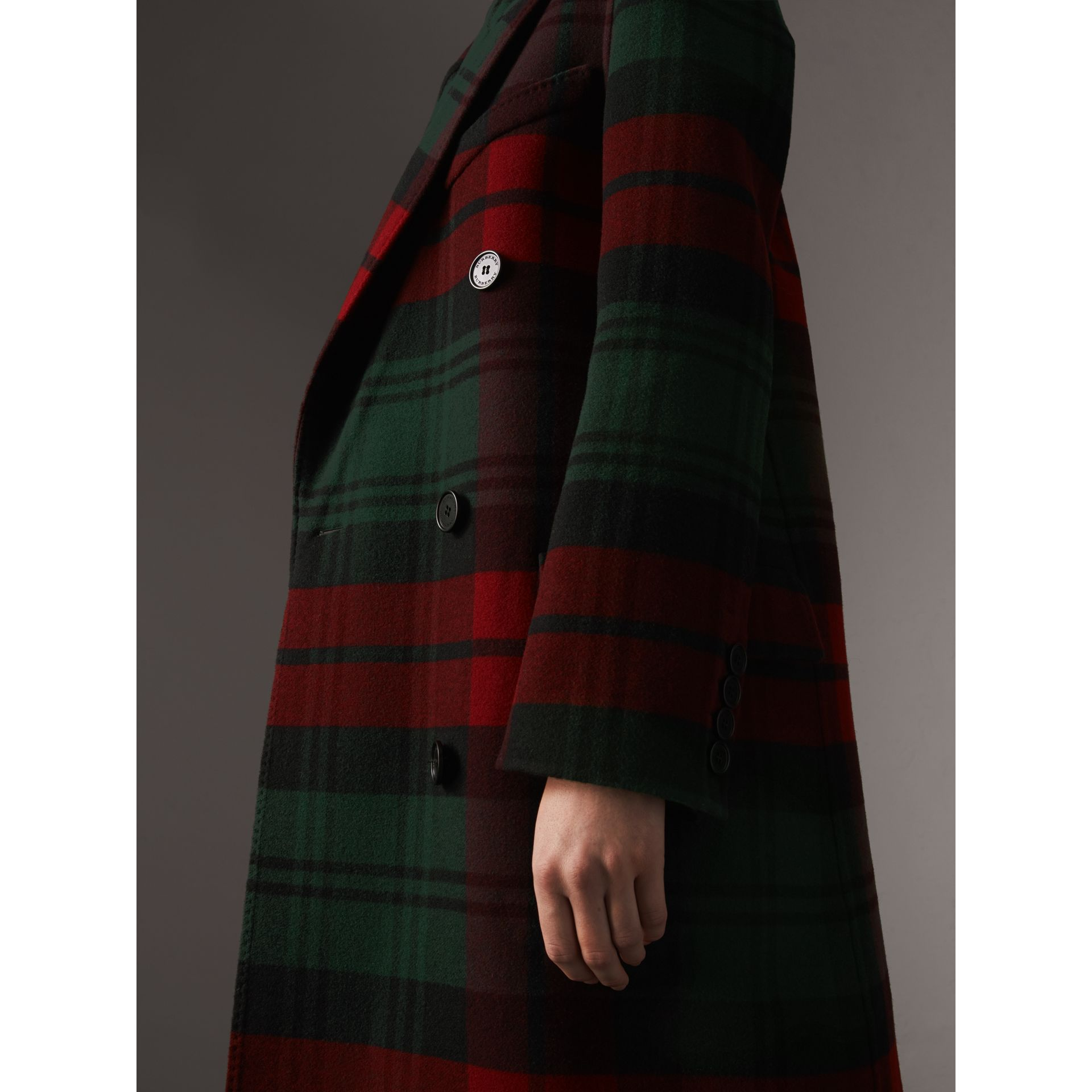 Tartan Wool Double-breasted Coat in Racing Green/dark Crimson - Women | Burberry - gallery image 1