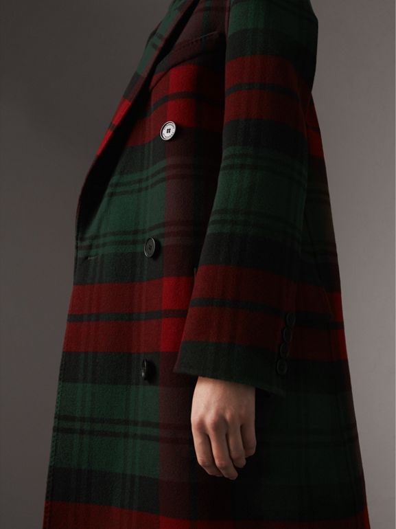 Tartan Wool Double-breasted Coat in Racing Green/dark Crimson - Women | Burberry - cell image 1