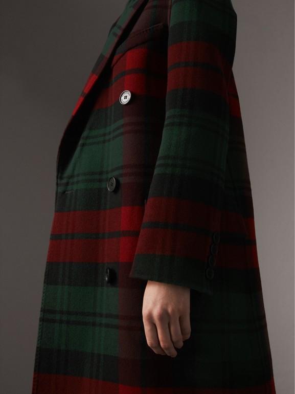 Casaco com trespassado de lã em xadrez tartan (Verde Bandeira/carmesim Escuro) - Mulheres | Burberry - cell image 1