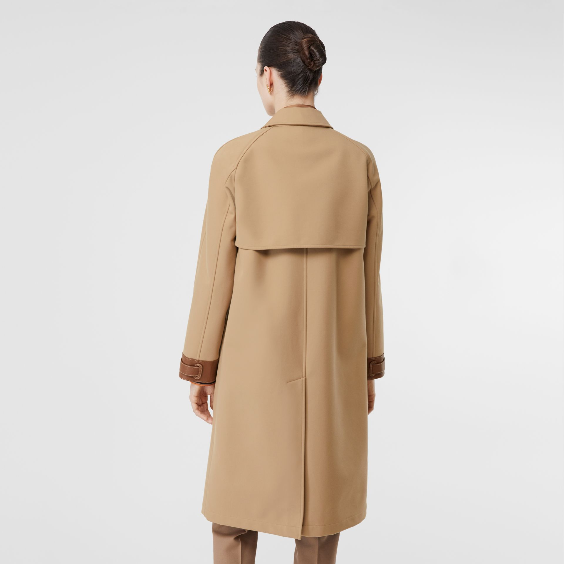 Leather Trim Bonded Cotton Lab Coat in Biscuit - Women | Burberry - gallery image 2