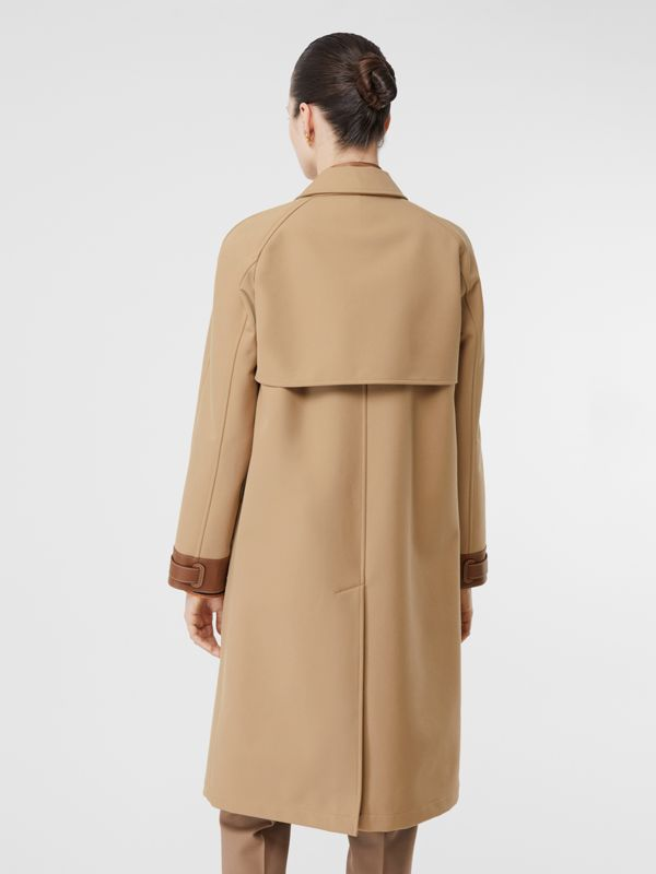 Leather Trim Bonded Cotton Lab Coat in Biscuit - Women | Burberry - cell image 2