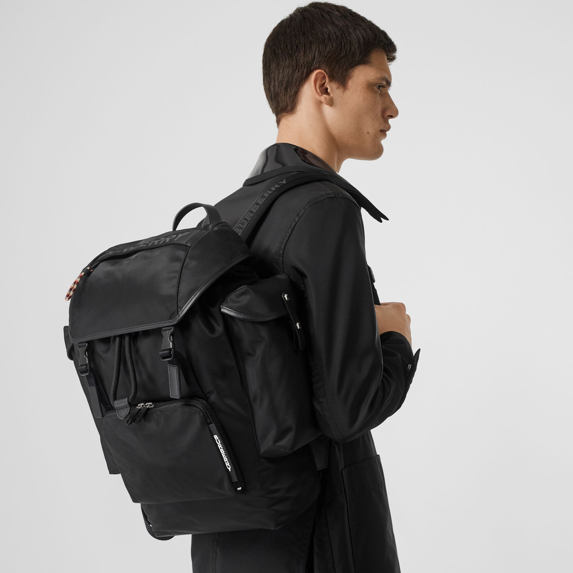 Logo Detail Nylon and Leather Backpack in Black - Men | Burberry - gallery image 2