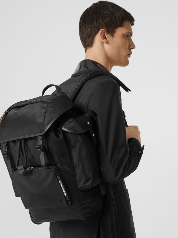 Logo Detail Nylon and Leather Backpack in Black - Men | Burberry - cell image 2