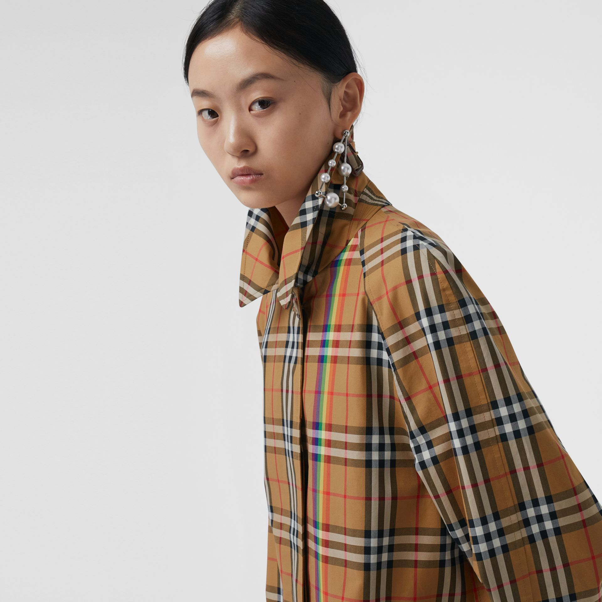 Rainbow Vintage Check Car Coat in Multicolour - Women | Burberry United Kingdom - gallery image 1