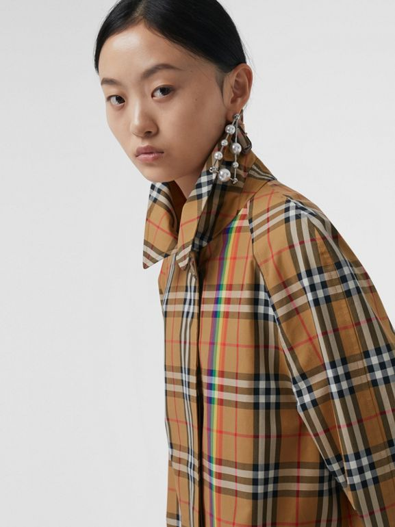 Rainbow Vintage Check Car Coat in Multicolour - Women | Burberry - cell image 1