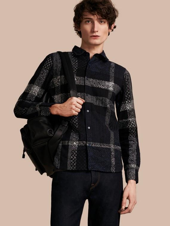 Herringbone Check Print Cotton Shirt