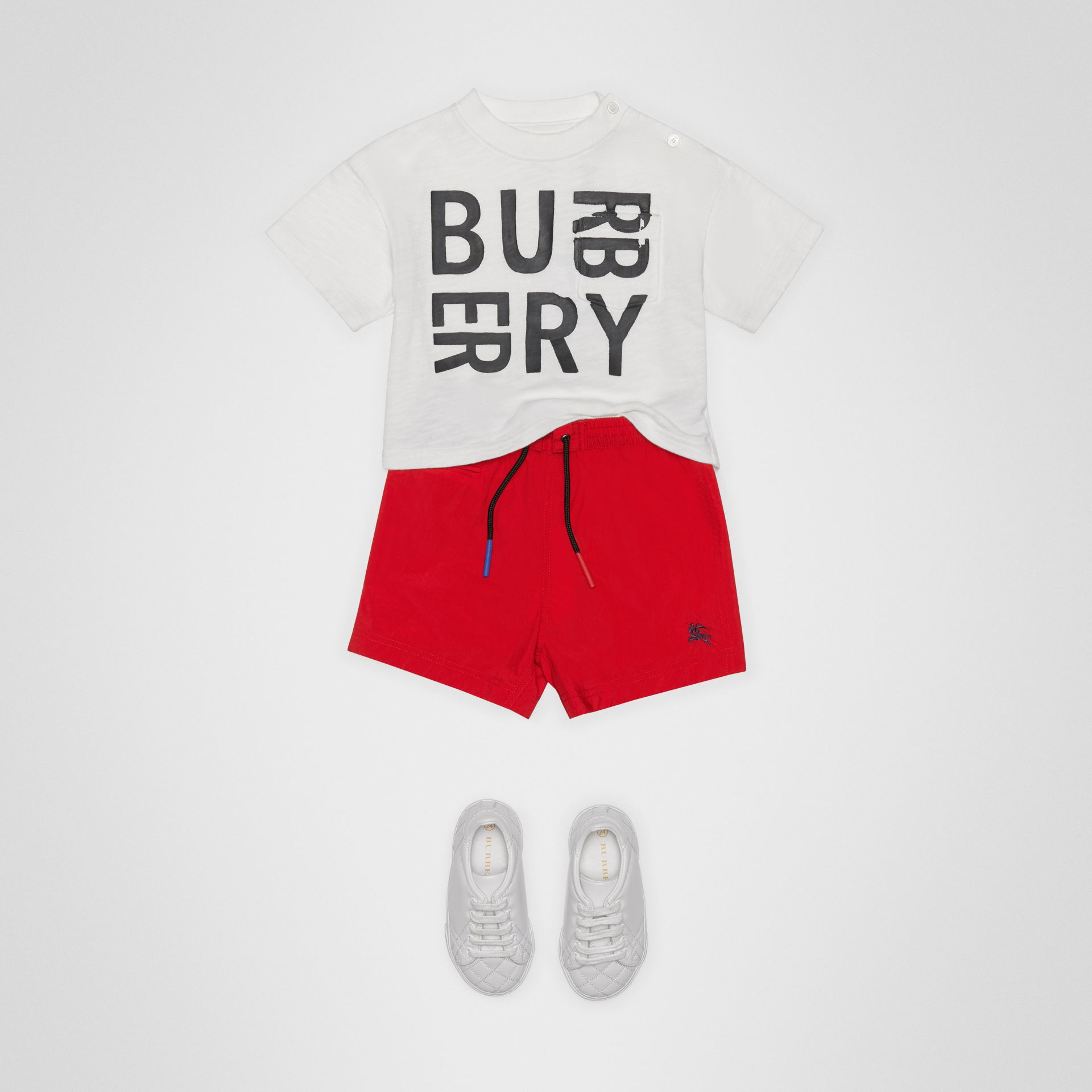 Drawcord Swim Shorts in Military Red - Children | Burberry Australia - gallery image 2