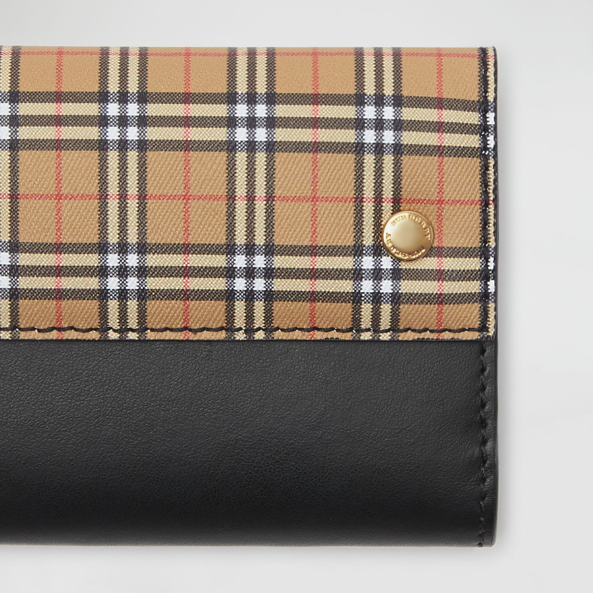 Small Scale Check and Leather Folding Wallet in Antique Yellow - Women | Burberry Canada - gallery image 1