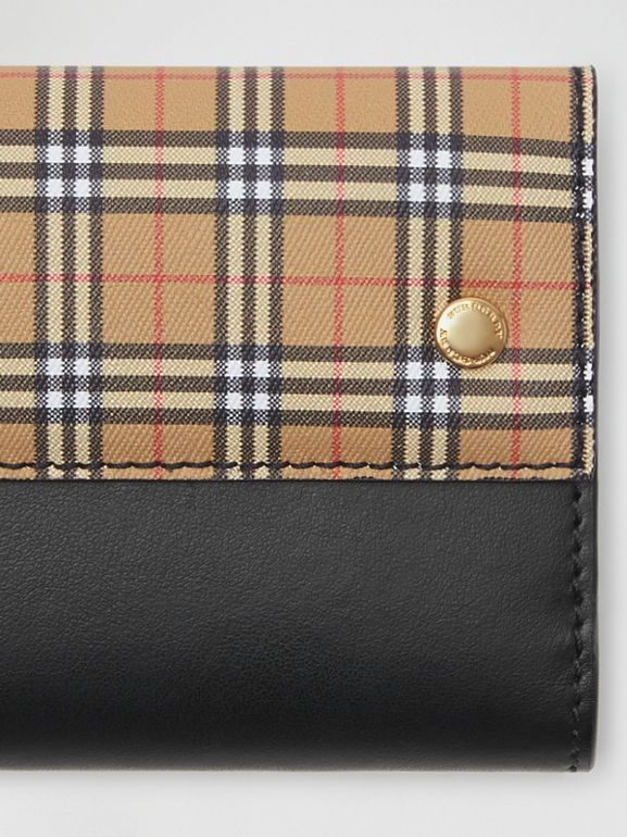 Small Scale Check and Leather Folding Wallet in Antique Yellow - Women | Burberry United Kingdom - cell image 1