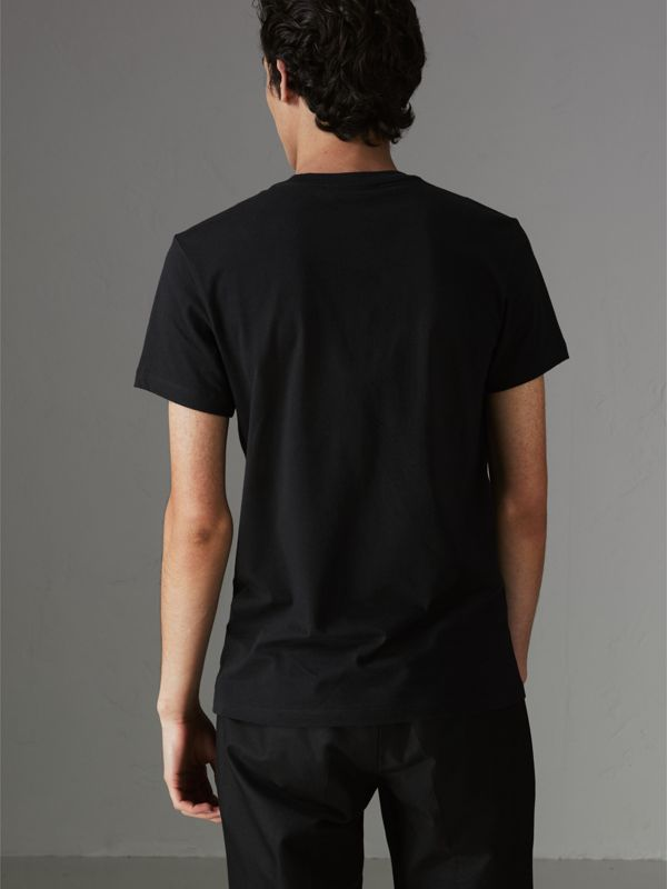 Embroidered Archive Logo Cotton T-shirt in Black - Men | Burberry Australia - cell image 2