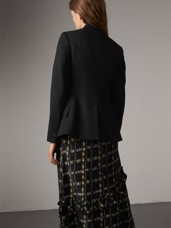 Cut-out Detail Tailored Wool Riding Jacket in Black - Women | Burberry United Kingdom - cell image 2
