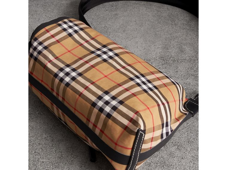 Small Vintage Check Cotton Duffle Bag in Antique Yellow - Women | Burberry - cell image 4