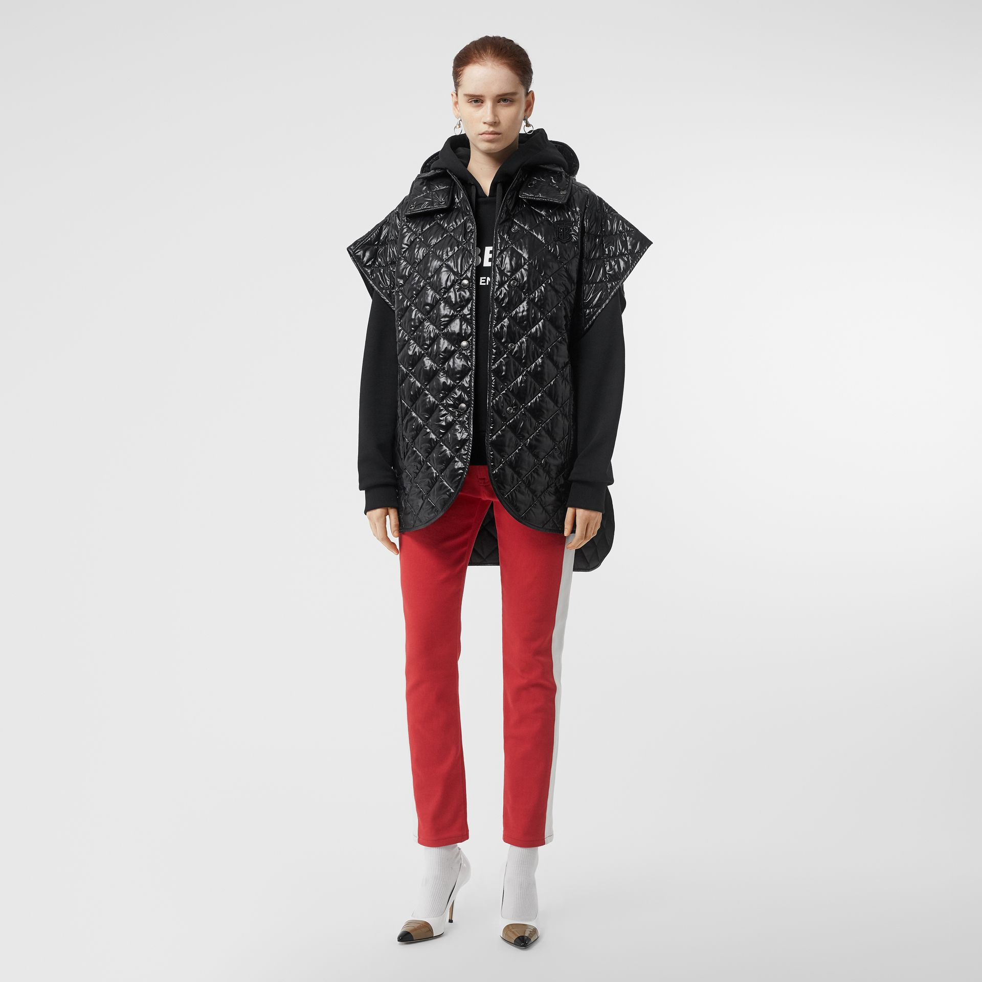 Detachable Hood Diamond Quilted Cape in Black - Women | Burberry - gallery image 0