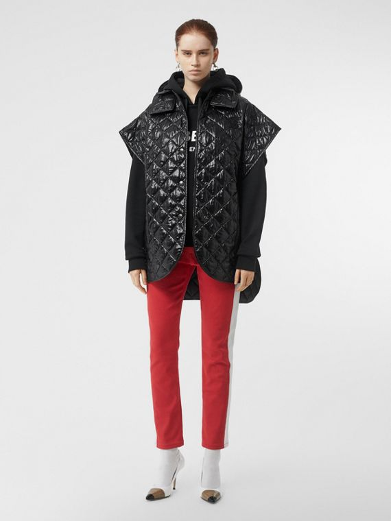 Detachable Hood Diamond Quilted Cape in Black