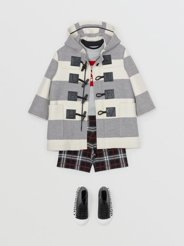 Logo Detail Striped Wool Cashmere Blend Duffle Coat in Grey | Burberry Canada - cell image 3