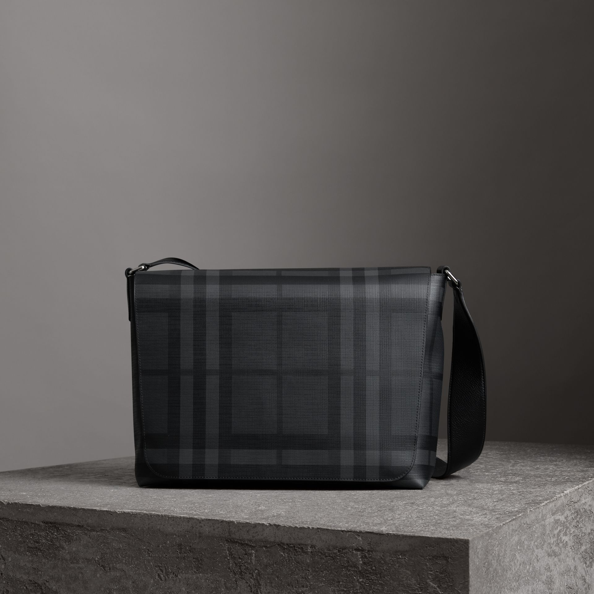 Large London Check Messenger Bag in Charcoal/black - Men | Burberry - gallery image 0