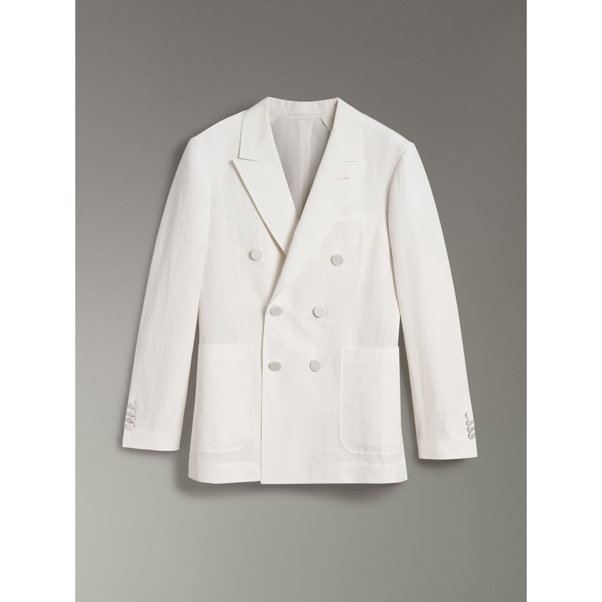 Linen Silk Double-breasted Tailored Jacket in Off White - Men | Burberry United Kingdom - gallery image 3