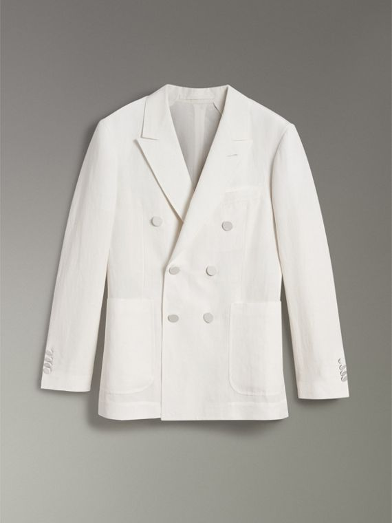 Linen Silk Double-breasted Tailored Jacket in Off White - Men | Burberry United Kingdom - cell image 3