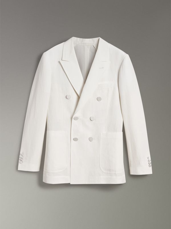 Linen Silk Double-breasted Tailored Jacket in Off White - Men | Burberry Singapore - cell image 3
