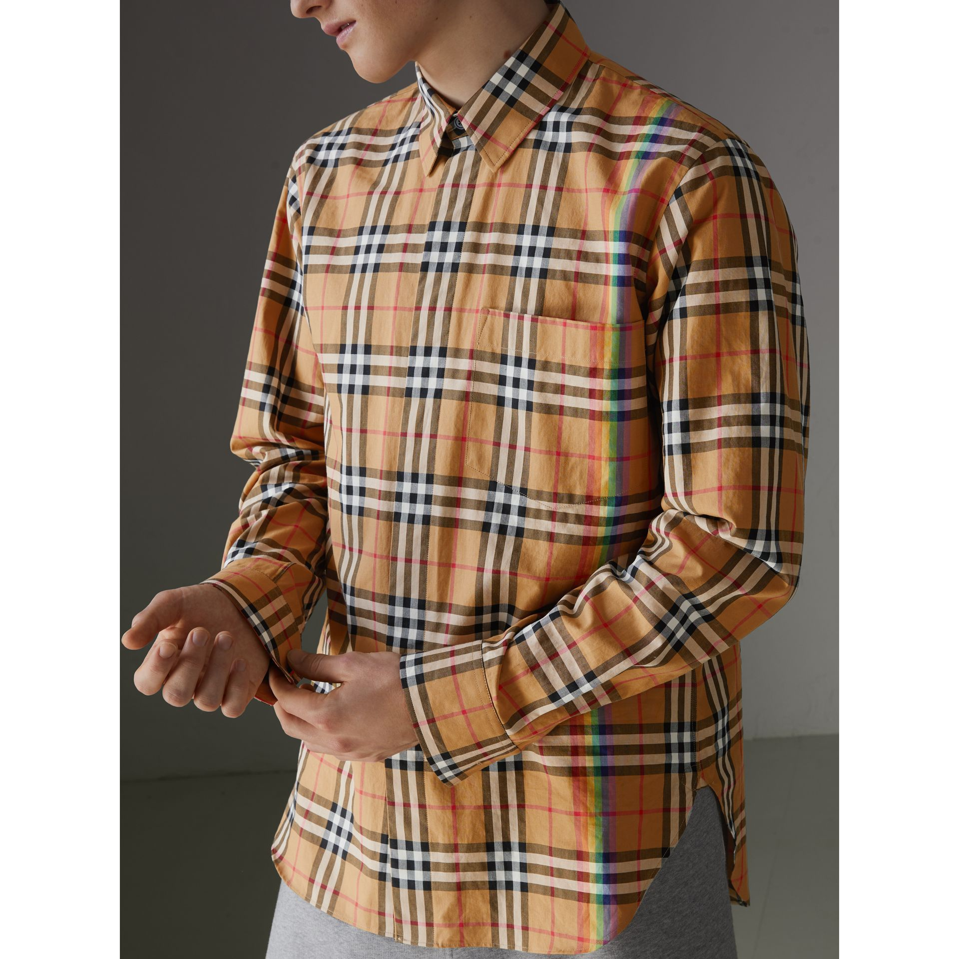 Rainbow Vintage Check Shirt in Antique Yellow - Men | Burberry United States - gallery image 1
