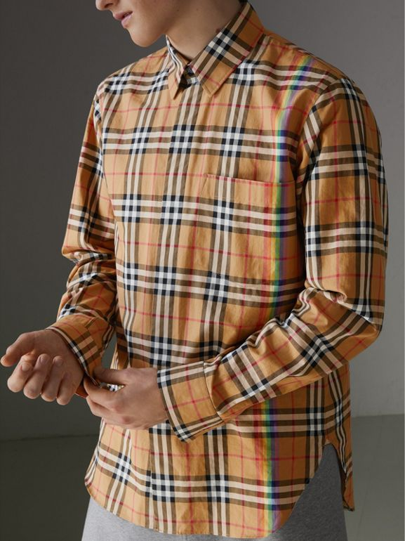 Rainbow Vintage Check Shirt in Antique Yellow - Men | Burberry United States - cell image 1