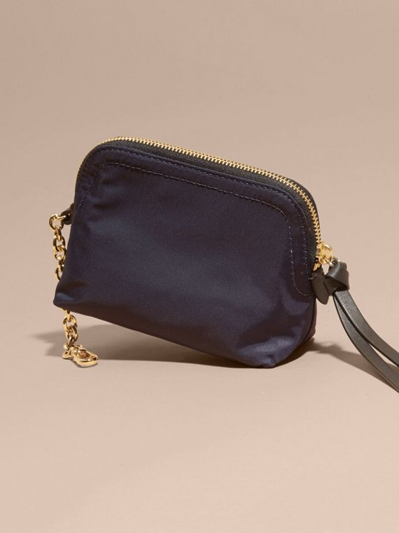 Small Zip-top Technical Nylon Pouch in Ink Blue - cell image 3