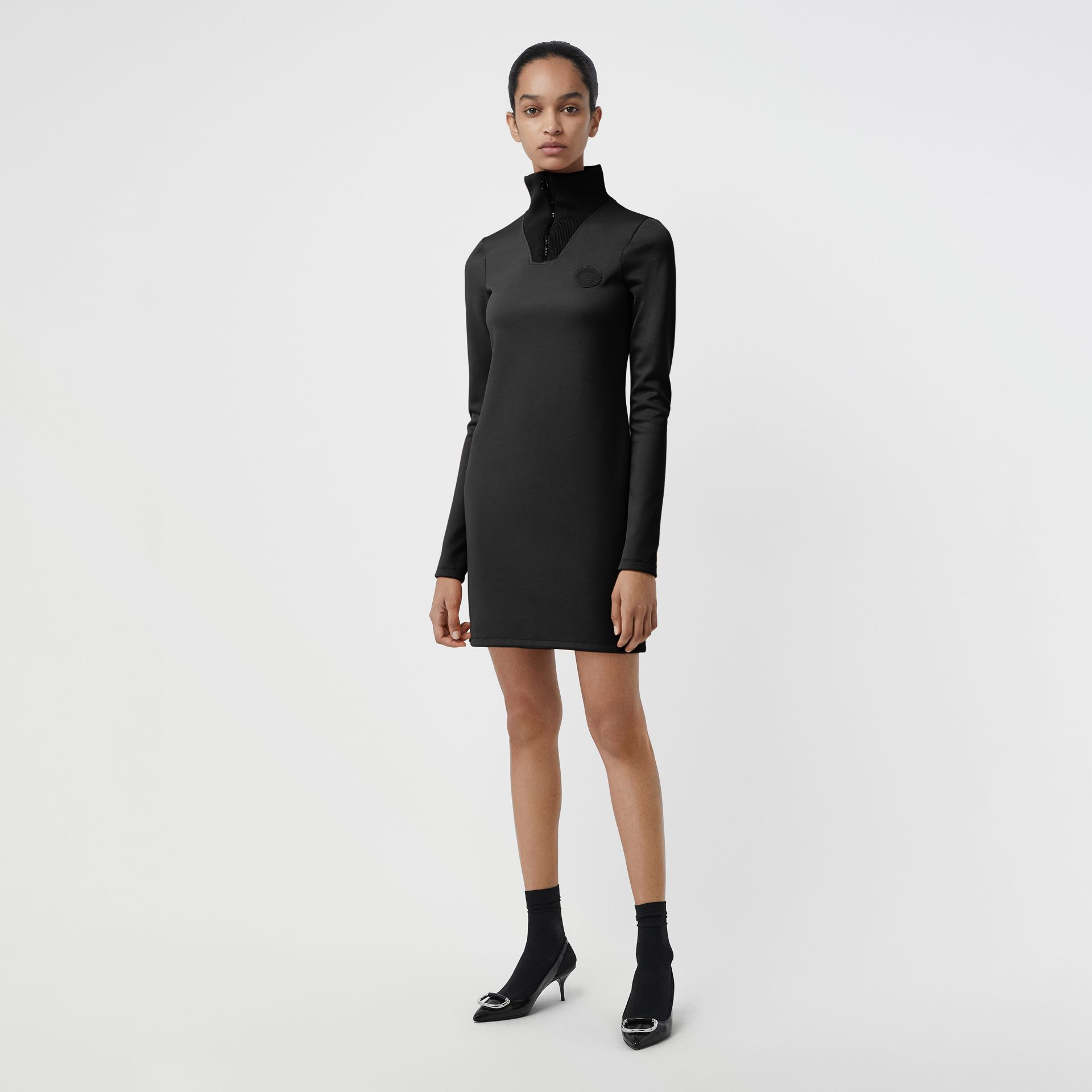 Zip Detail Funnel Neck Mini Dress in Black - Women | Burberry - gallery image 0