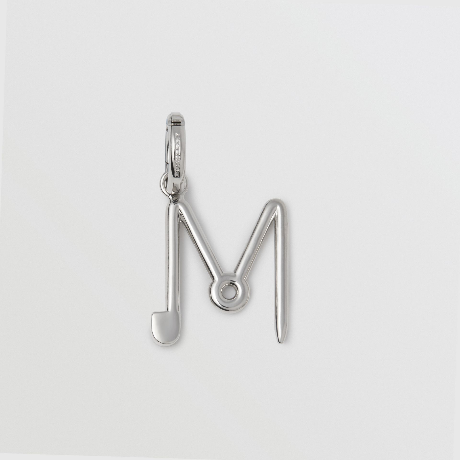 Kilt Pin 'M' Alphabet Charm in Palladio - Women | Burberry - gallery image 0
