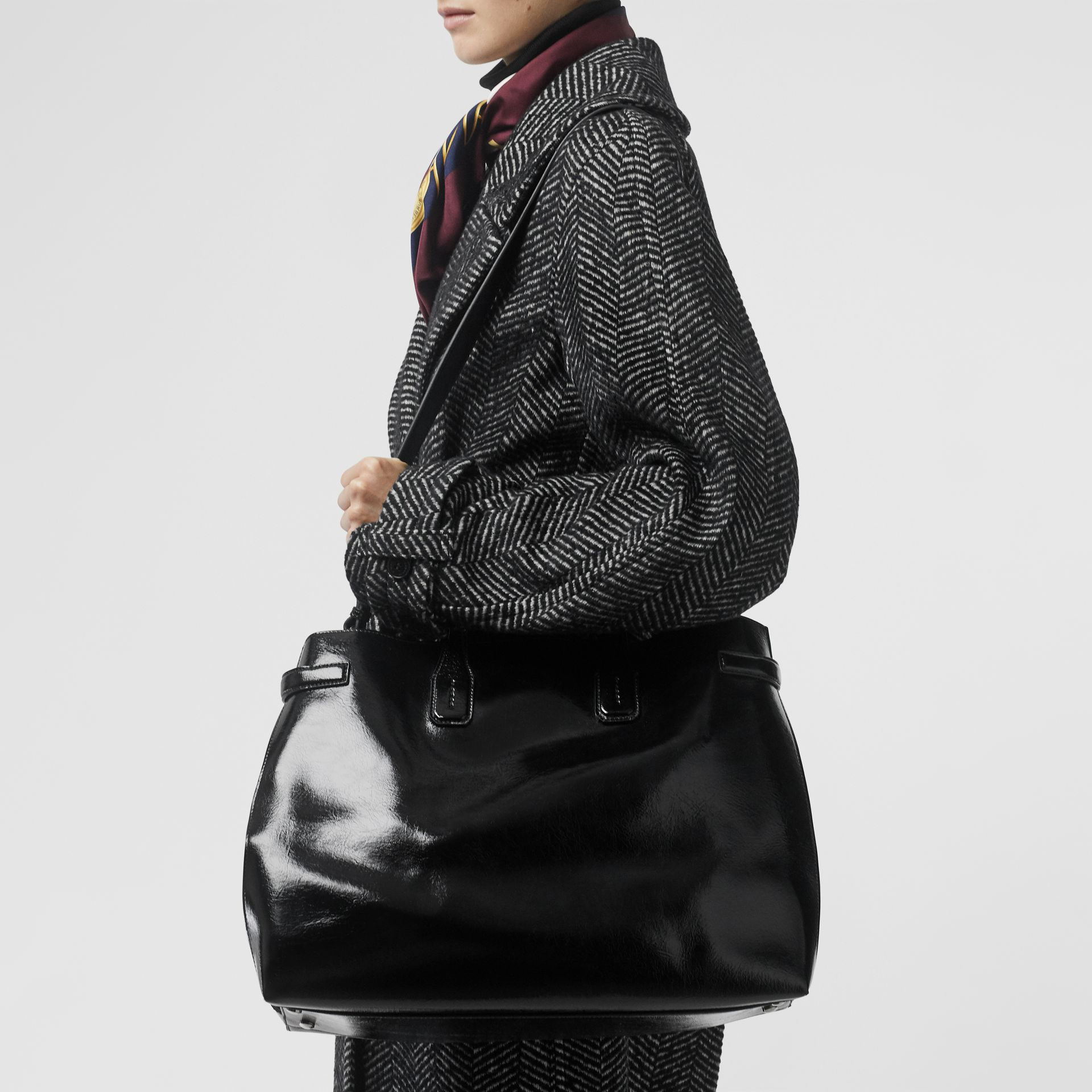 The Large Soft Leather Banner in Black - Women | Burberry - gallery image 2