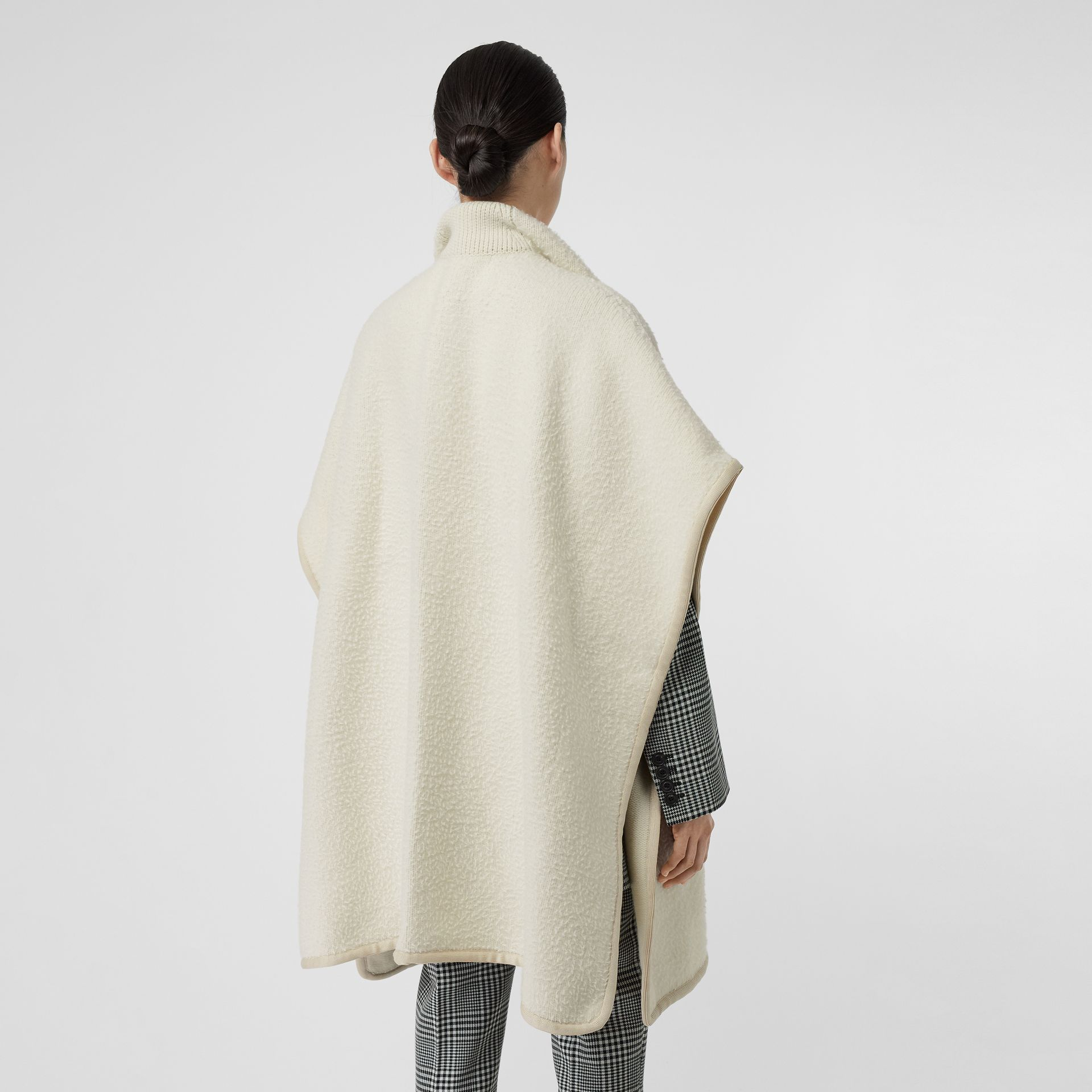 Wool Fleece Cape in Ivory - Women | Burberry - gallery image 2