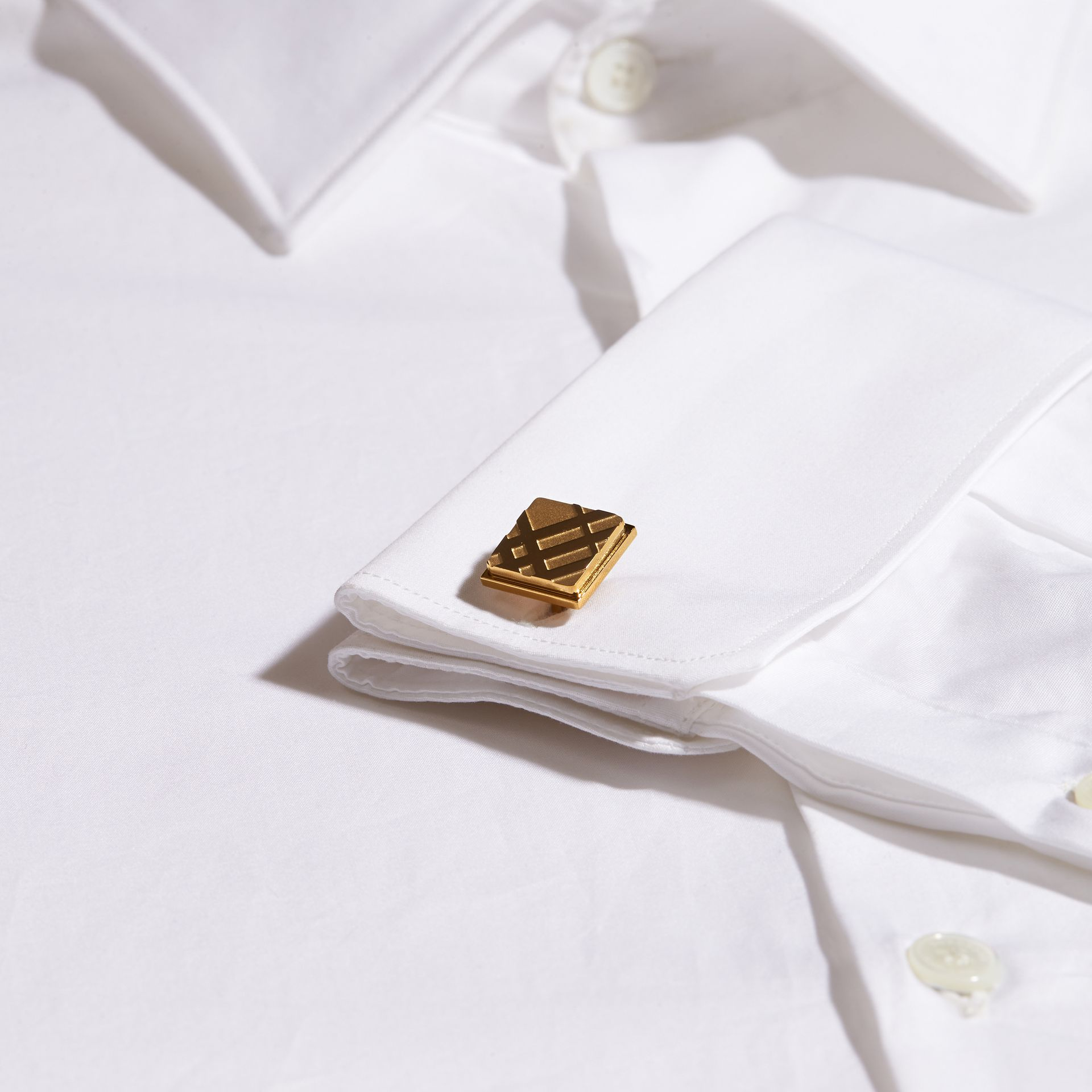 Check-engraved Square Cufflinks in Pale Gold - Men | Burberry Canada - gallery image 2