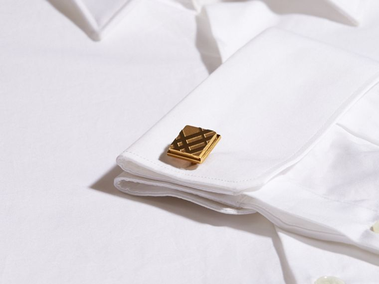 Check-engraved Square Cufflinks in Pale Gold - Men | Burberry - cell image 1