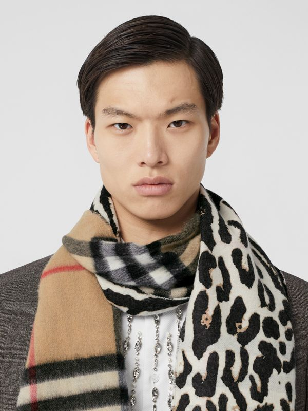Leopard Print and Check Cashmere Scarf in Black | Burberry - cell image 3