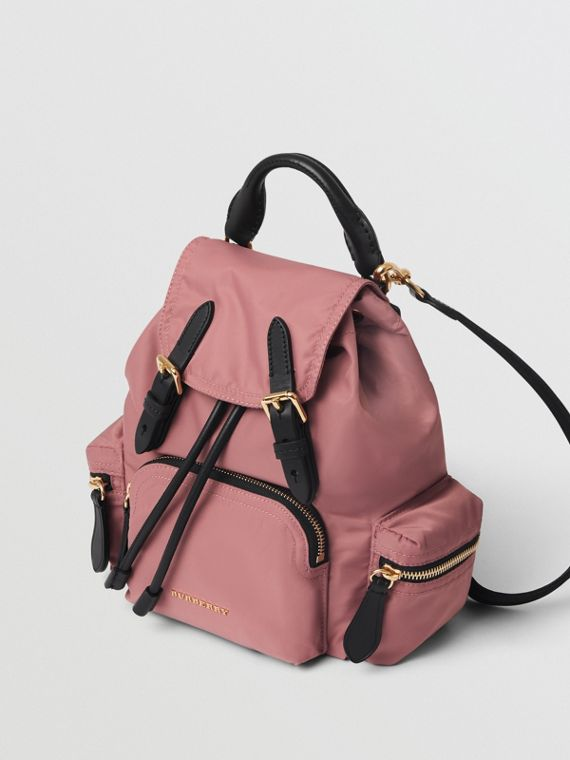 The Small Crossbody Rucksack in Nylon in Mauve Pink