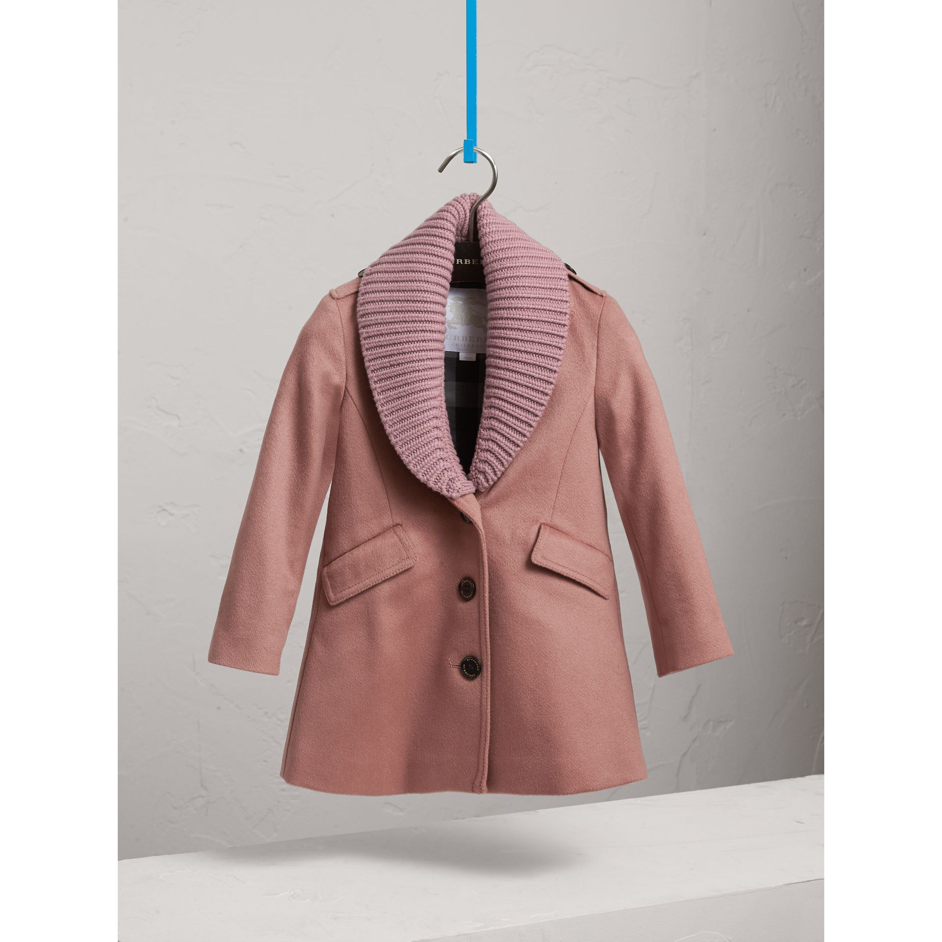 Detachable Rib Knit Collar Tailored Cashmere Coat in Antique Rose - Girl | Burberry - gallery image 3