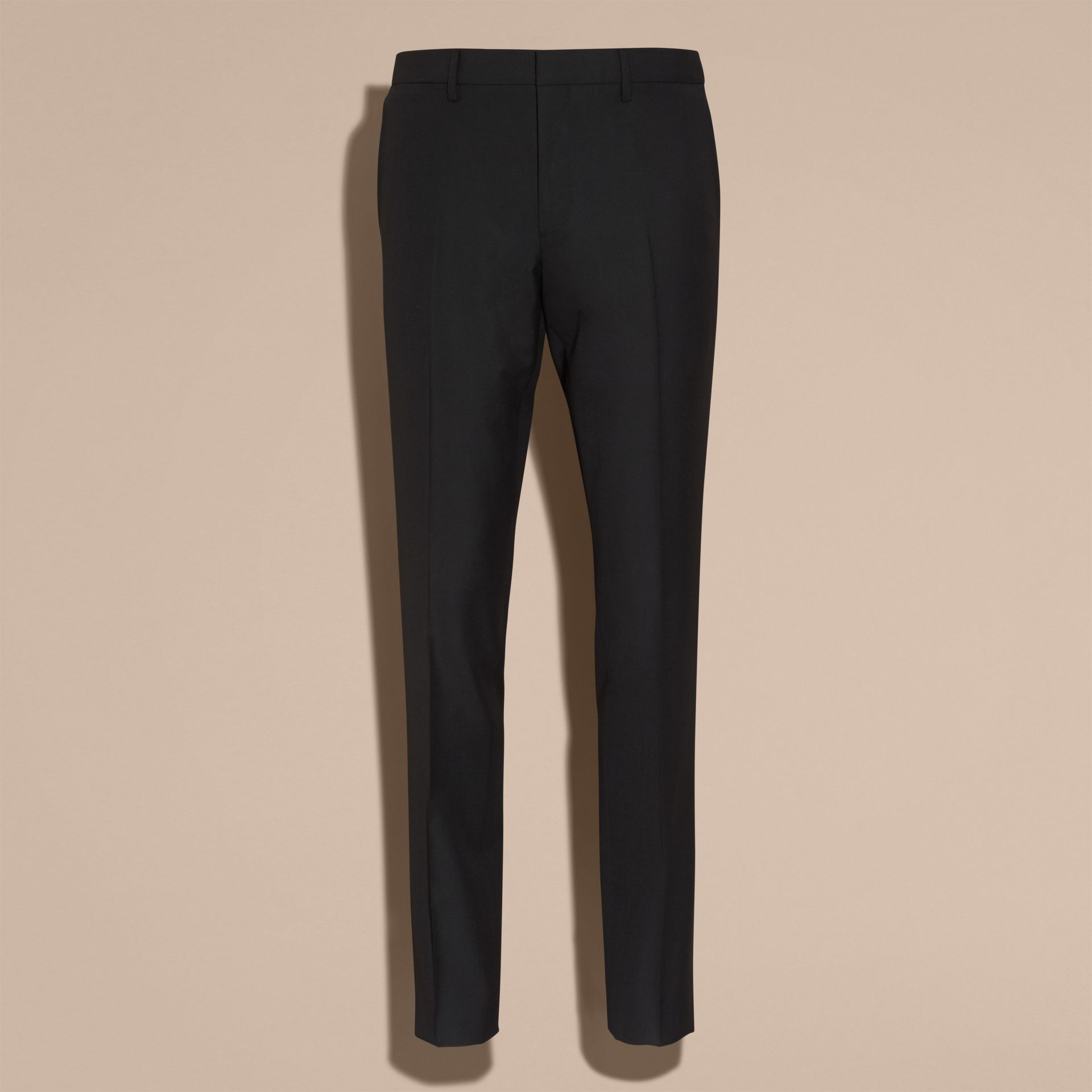 Slim Fit Wool Trousers in Black - Men | Burberry - gallery image 4