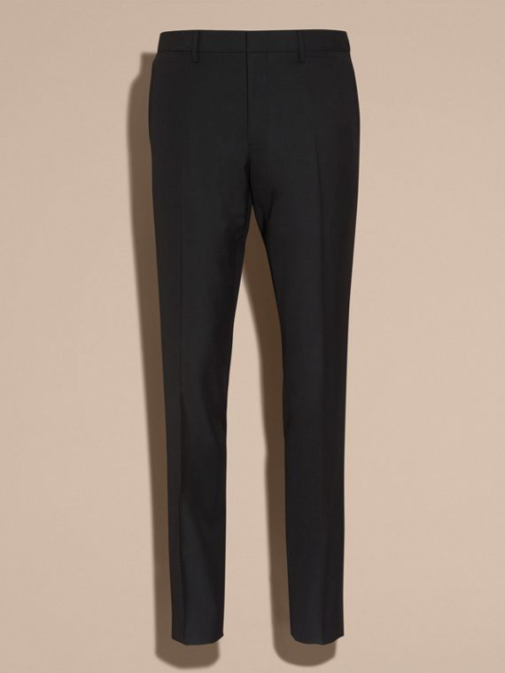 Black Slim Fit Wool Trousers Black - cell image 3
