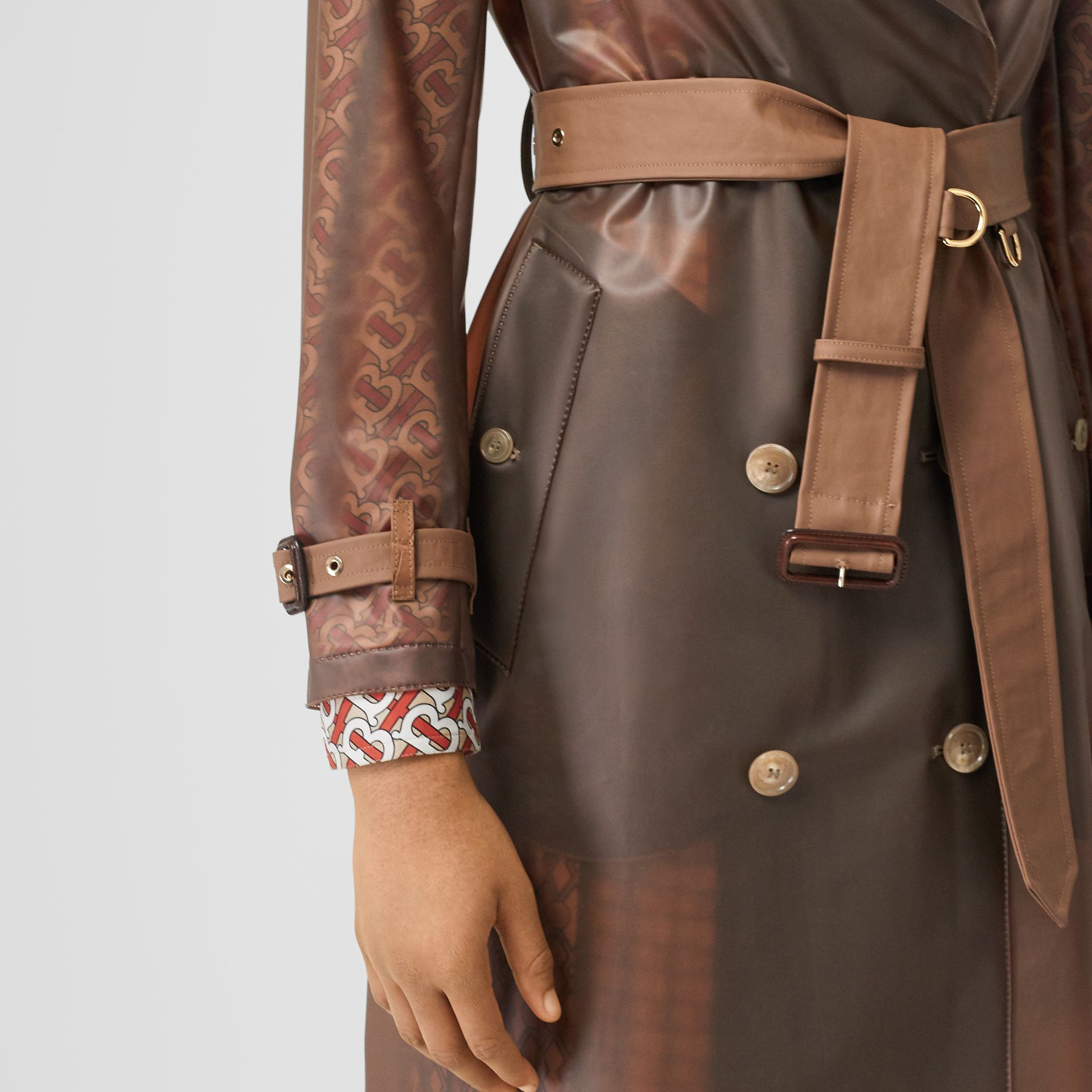 Leather Detail Showerproof Trench Coat in Flaxseed - Women | Burberry - gallery image 4