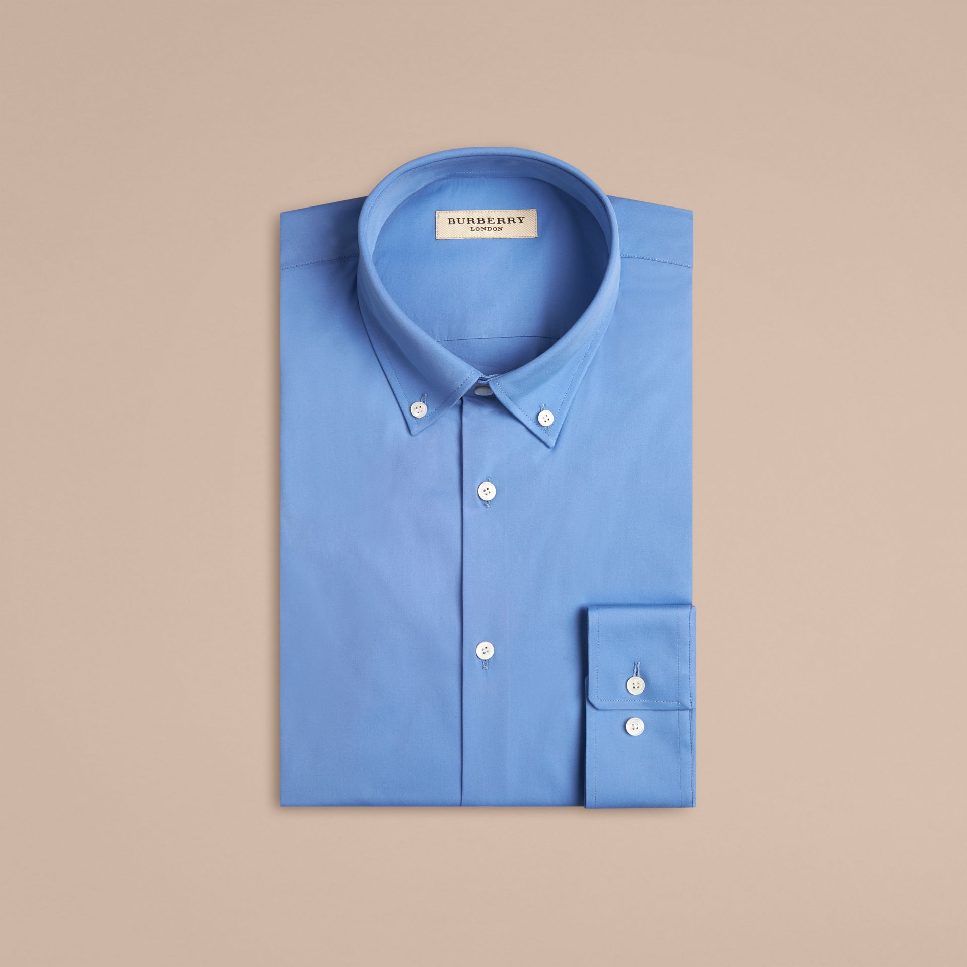 Modern Fit Button-down Collar Stretch Cotton Shirt in Mid Blue - gallery image 4