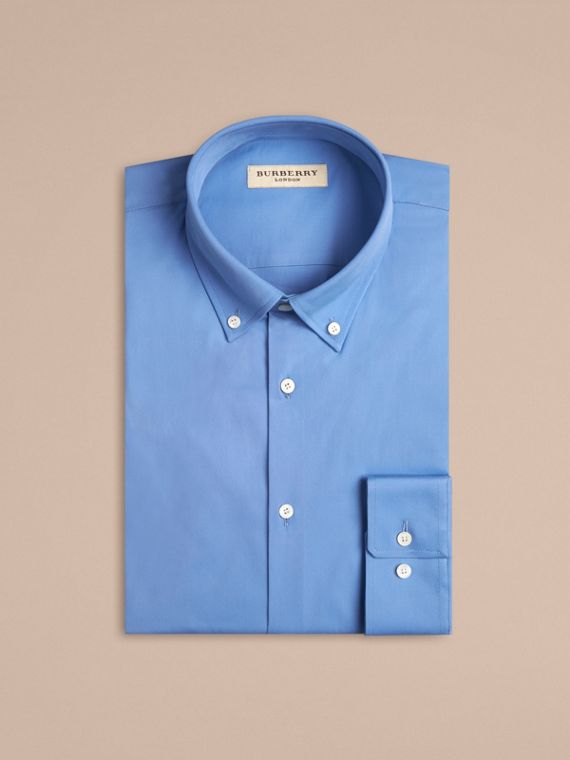 Mid blue Modern Fit Button-down Collar Stretch Cotton Shirt Mid Blue - cell image 3