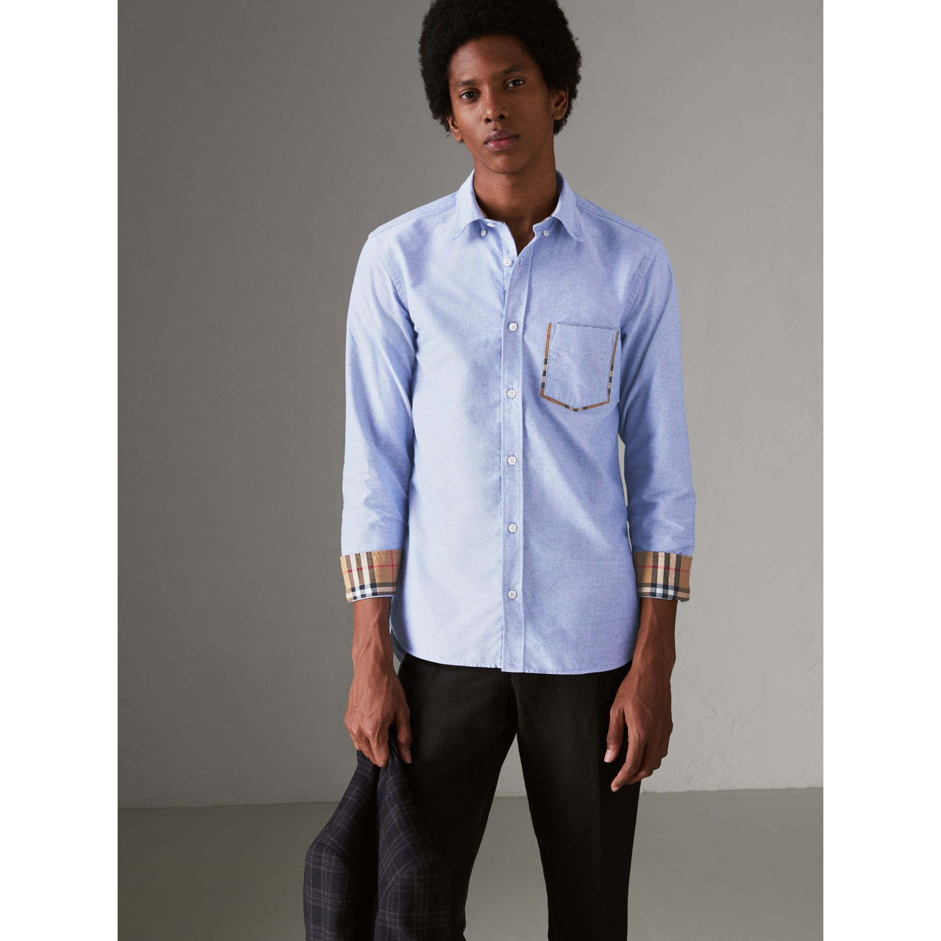 Check Detail Cotton Oxford Shirt in Mineral Blue - Men | Burberry Canada - gallery image 4