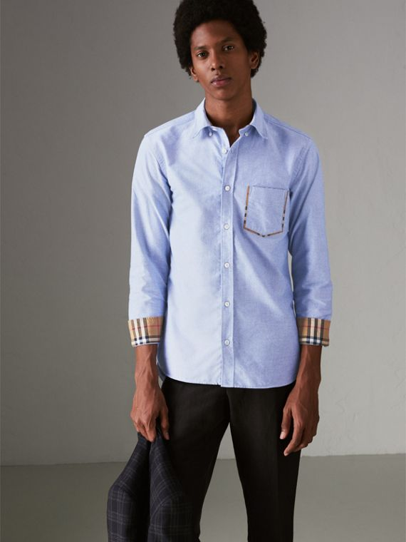 Check Detail Cotton Oxford Shirt in Mineral Blue