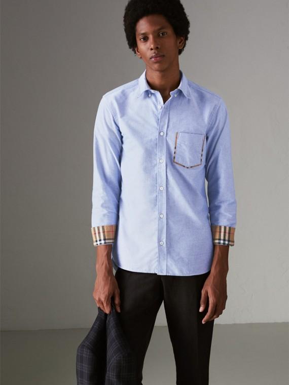 Camisa Oxford en algodón con detalles a cuadros (Azul Mineral)
