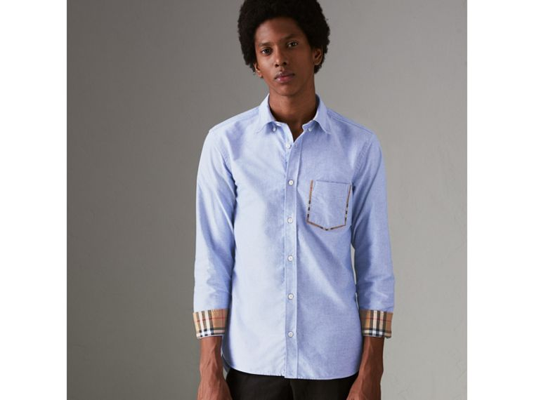 Check Detail Cotton Oxford Shirt in Mineral Blue - Men | Burberry Canada - cell image 4