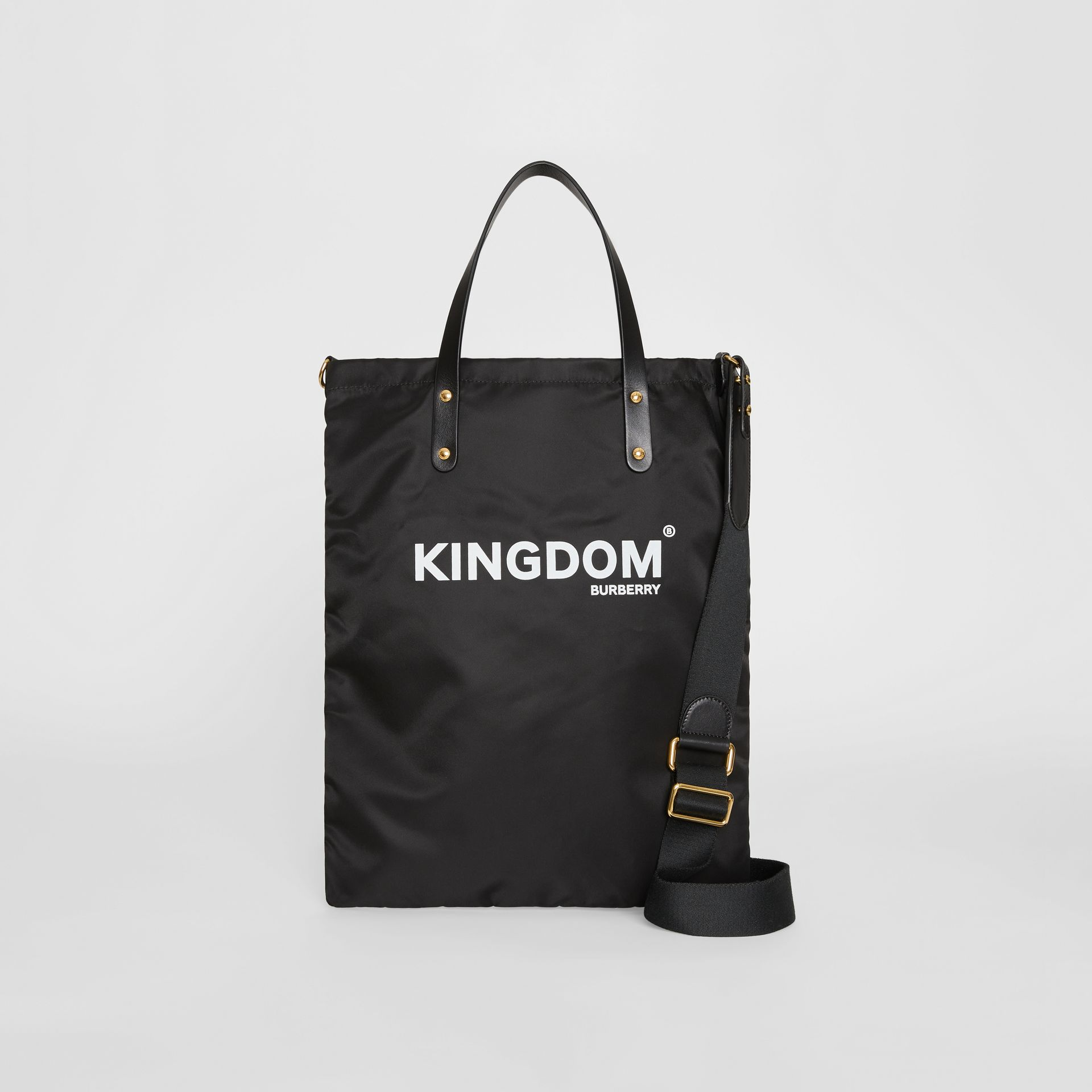 Kingdom Print Nylon Tote in Black | Burberry - gallery image 0
