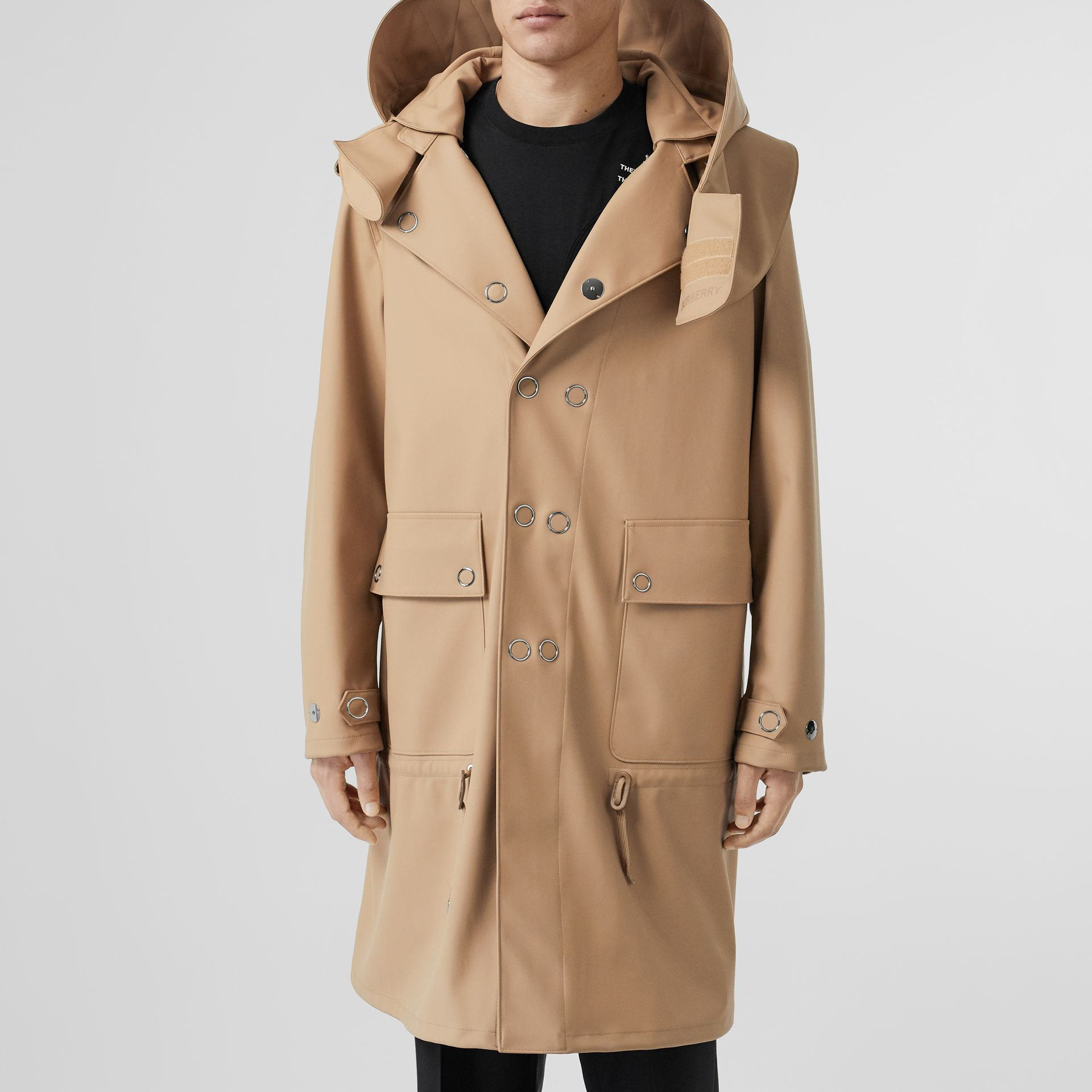 Detachable Hood Rubberised Parka in Honey | Burberry - gallery image 6