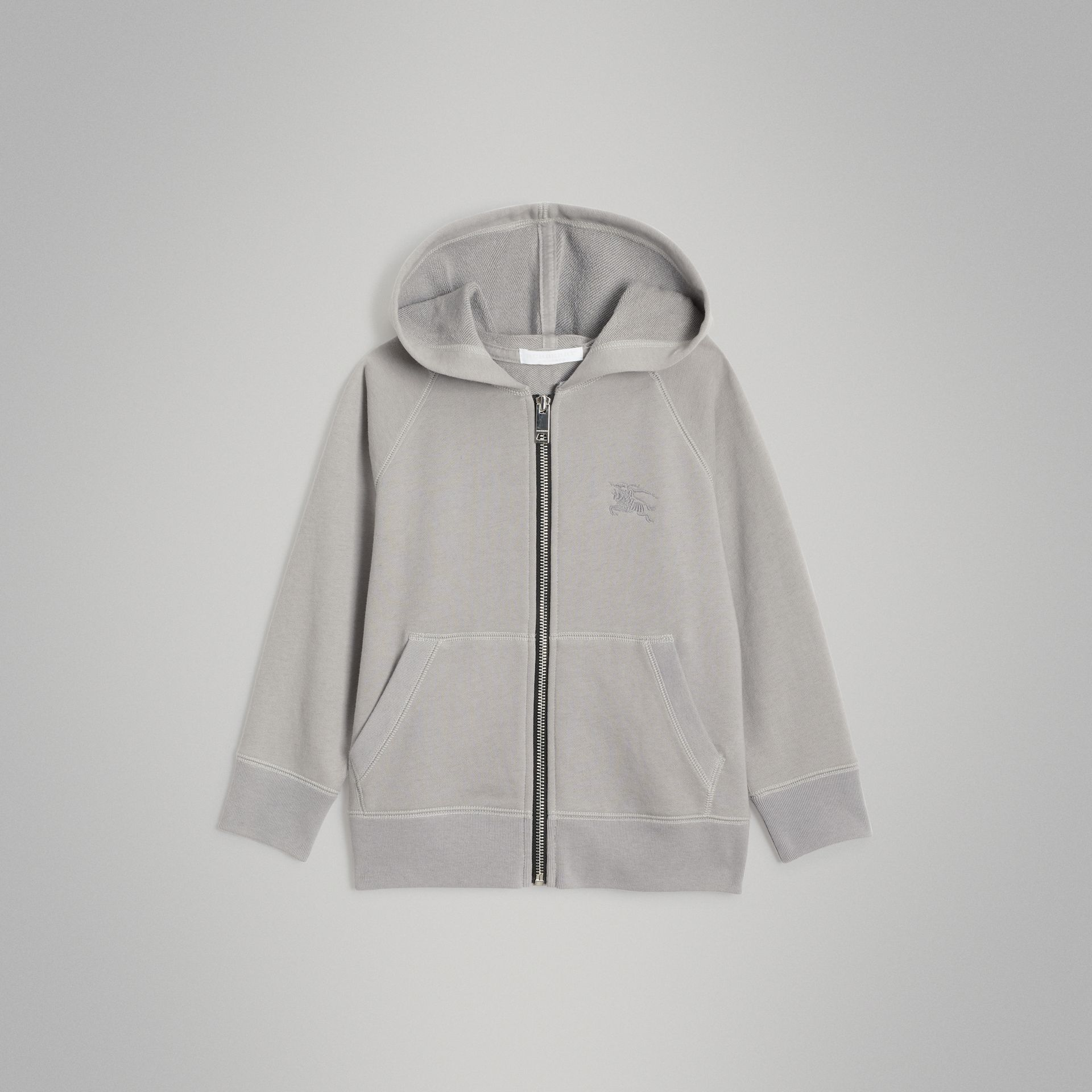 Cotton Jersey Hooded Top in Chalk Grey Melange | Burberry - gallery image 0