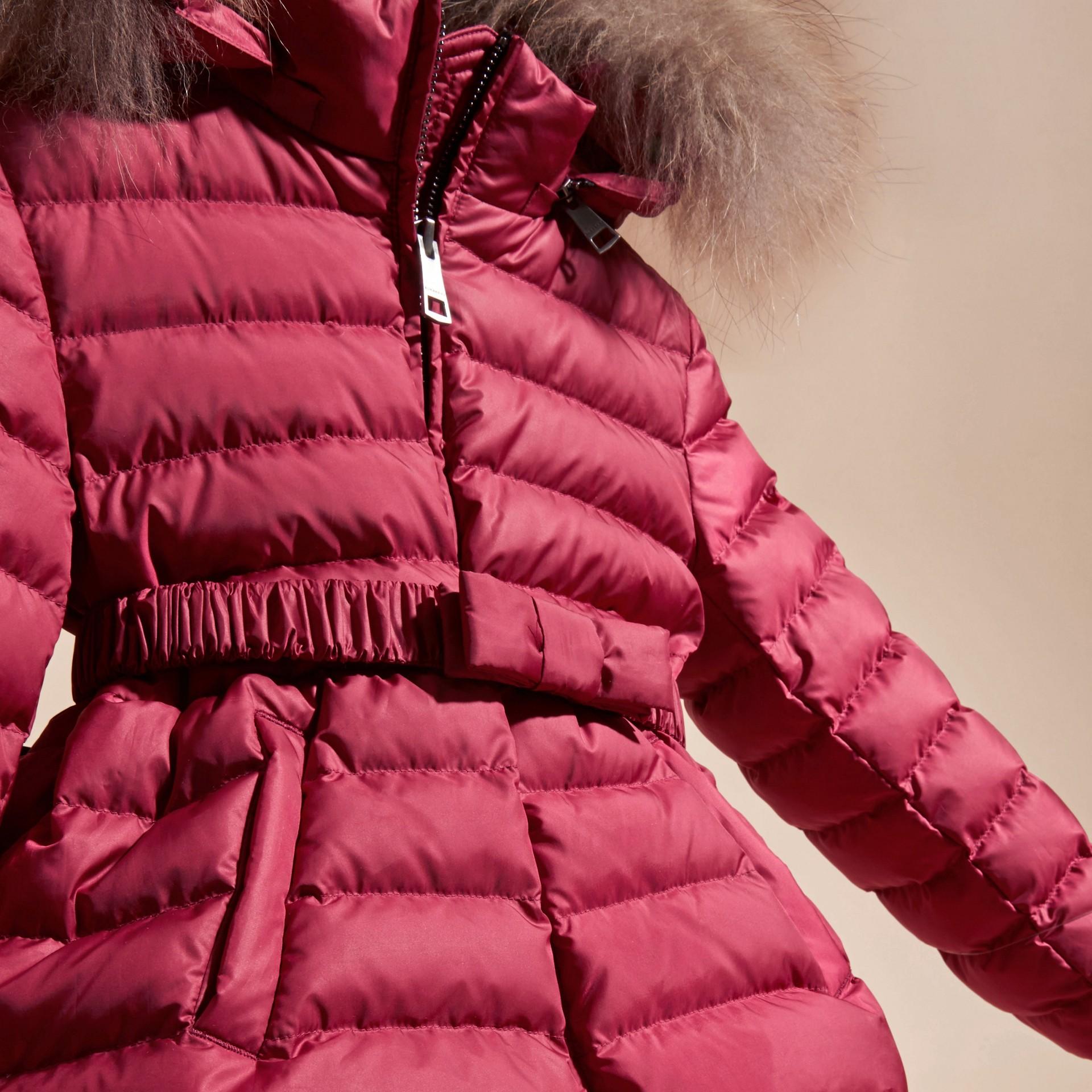 Dark plum pink Bow Detail Puffer Jacket - gallery image 3