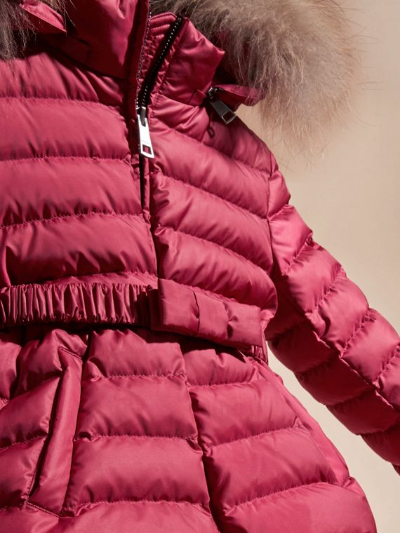 Dark plum pink Bow Detail Puffer Jacket - cell image 2