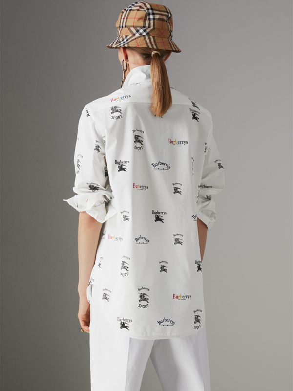 Triple Archive Logo Print Stretch Cotton Shirt in Multicolour - Women | Burberry United Kingdom - cell image 2